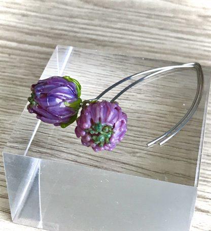 Pink flower lampwork glass earrings