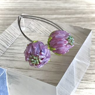 Pink flower lampwork glass earrings
