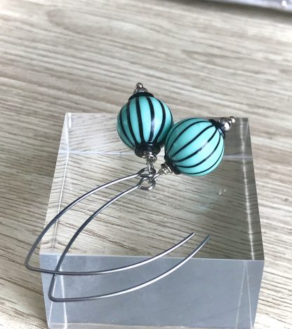 Turquoise glass lampwork earrings