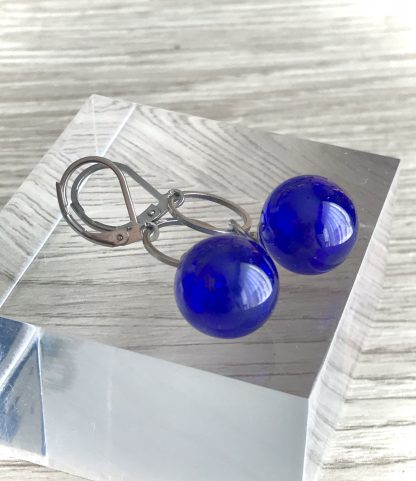 Dark Blue blown glass lampwork earrings