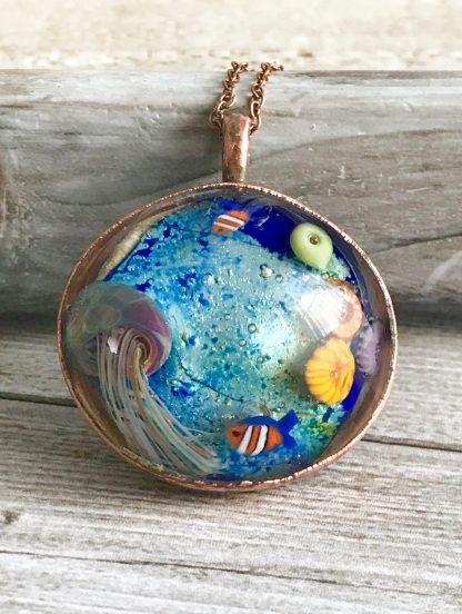Copper electroformed aquarium lampwork glass necklace