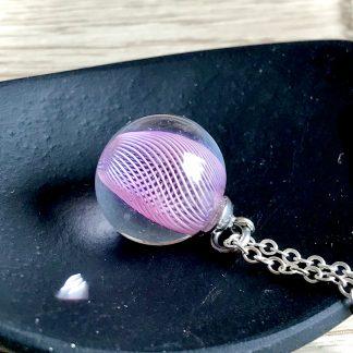 Pink spiral mini lampwork glass pendant