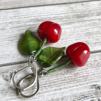 Lampwork cherry berry fruit summer earrings
