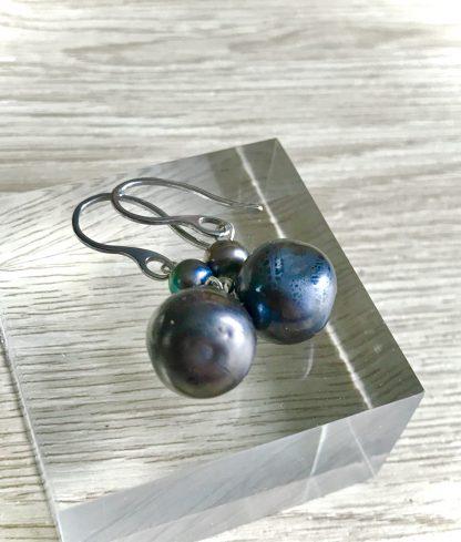 Black Pearl glass lampwork blown earrings