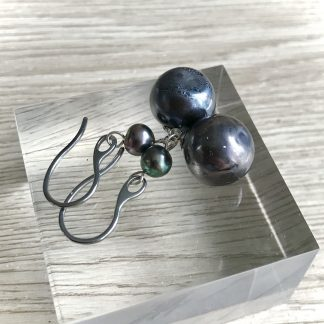 Black Pearl glass lampwork blown earrings