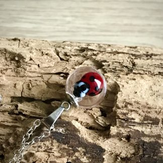 Red Ladybug Mini Clear Lampwork Glass Pendant