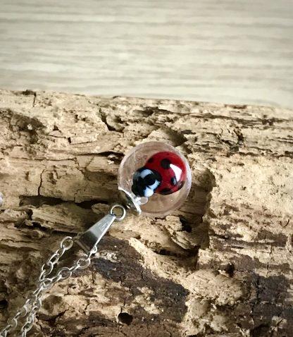 Red Ladybug Mini Clear Lampwork Glass Pendant