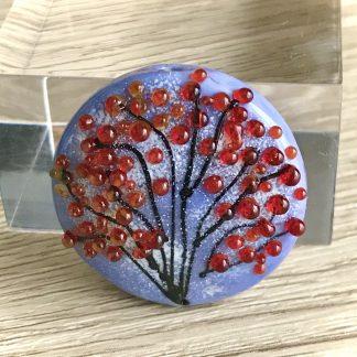 Landscape Handmade lampwork glass lentille bead