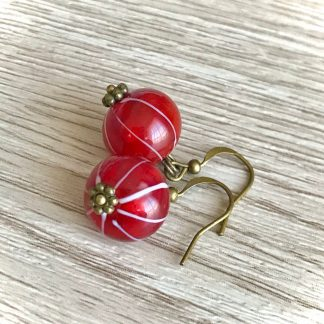 Berry Red Ribes Lampwork Glass Earring