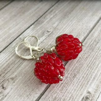 Red Raspberry Lampwork Glass Earrings