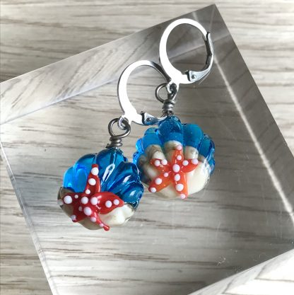 Blue Lampwork Glass Shell and Sea stars earrings