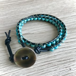Turquoise Leather Bracelets for Women, blue green perles, Double Wrap , Womens Gift, Festival Jewelry, Boho jewelry