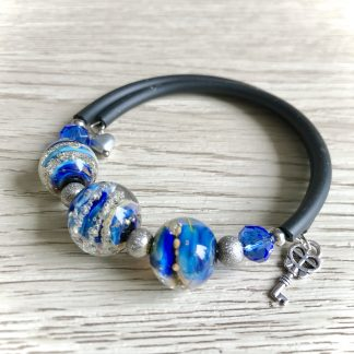 Blue lampwork glass galaxy bracelet, Artisan handmade unique Woman gift