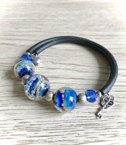 Blue lampwork glass galaxy bracelet, Artisan handmade unique Woman gift