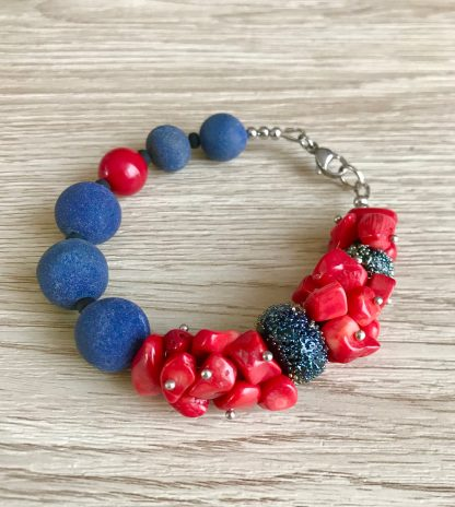 Red Coral bracelet for women, Blue Stone Jewelry, artisan handmade jewelry, Christmas women gift, sea marin jewelry