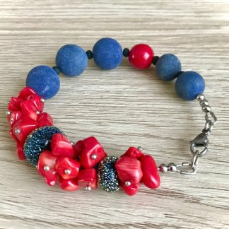Red Coral bracelet for women, Blue Stone Jewelry, artisan handmade jewelry, Christmas women gift, sea marin jewelry