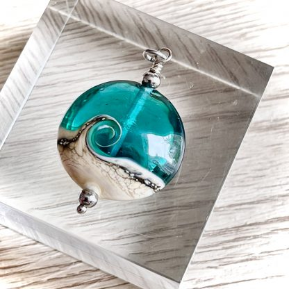 Lampwork sea glass teal green necklace Wave necklace Ocean necklace Beach necklace jewelry Beach wedding jewelry Christmas Gift