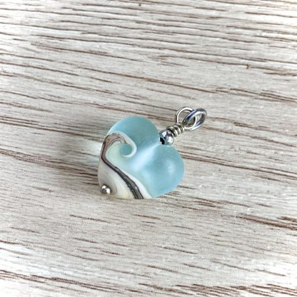 Lampwork Sea Glass heart necklace, Wave Necklace, Ocean Necklace, Beach Necklace Jewelry, Beach Wedding Jewelry, Christmas Gift