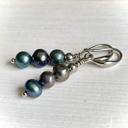 Black Pearl earrings, women gift, bridal statement earrings, party earrings