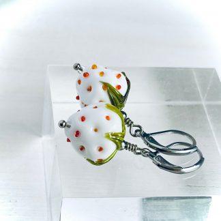 White lampwork strawberry earrings Glass berries handmade jewelry White strawberry Smail girl gift Glass fruit jewelry